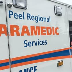 First responders attending to rollover collision in Brampton